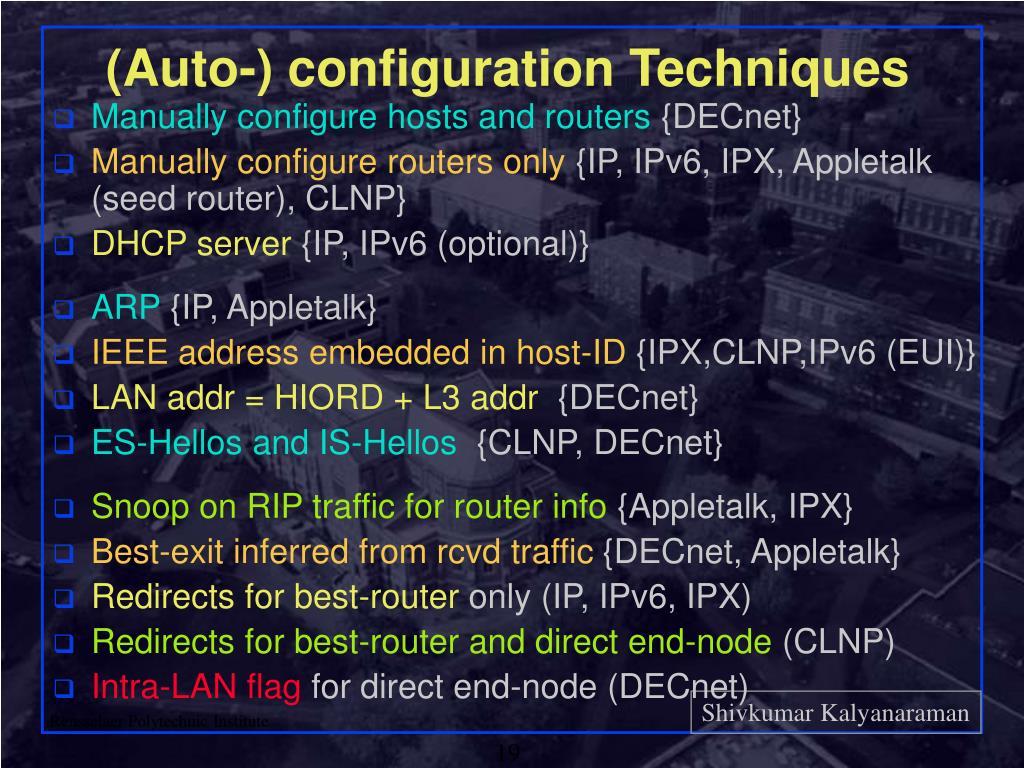 (Auto-) configuration Techniques