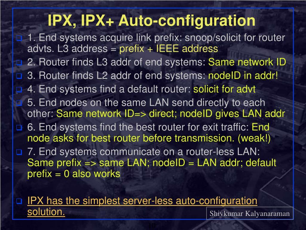IPX, IPX+ Auto-configuration