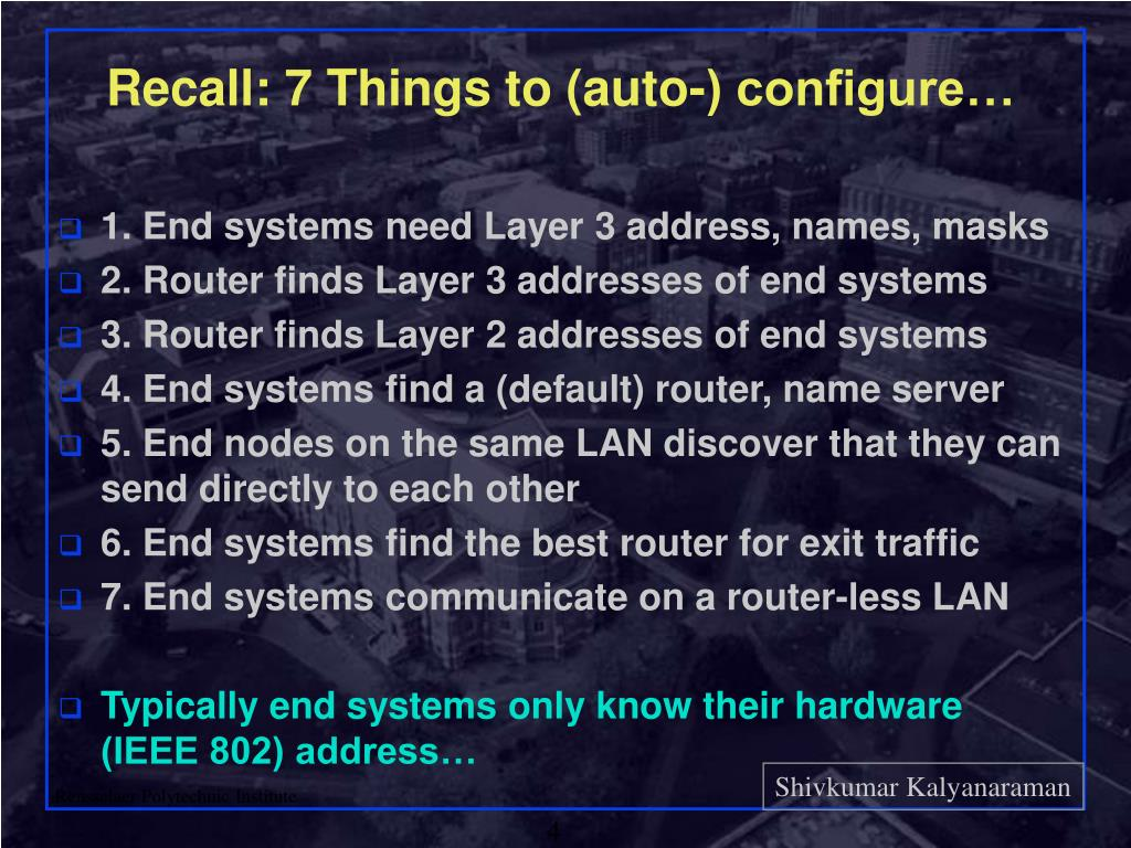 Recall: 7 Things to (auto-) configure…
