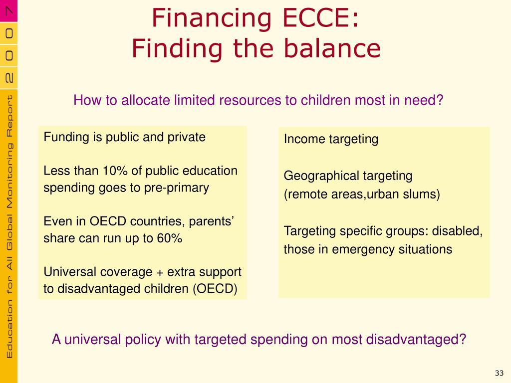 Financing ECCE: