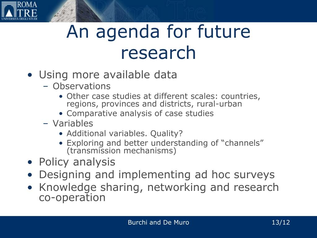 An agenda for future research