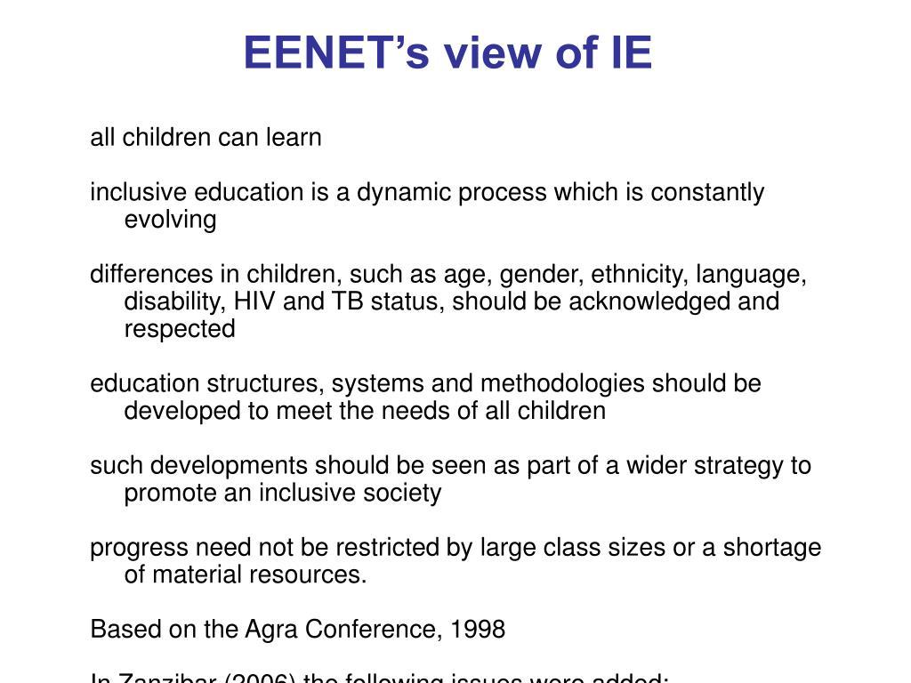 EENET's view of IE