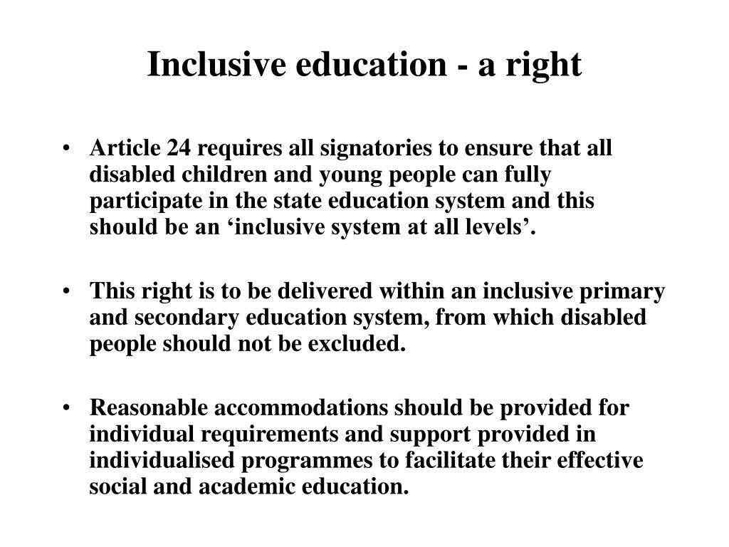 Inclusive education - a right