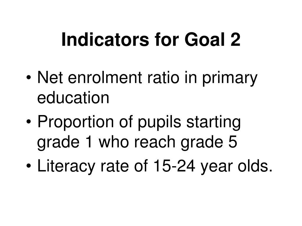 Indicators for Goal 2