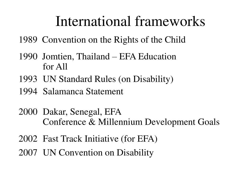 International frameworks