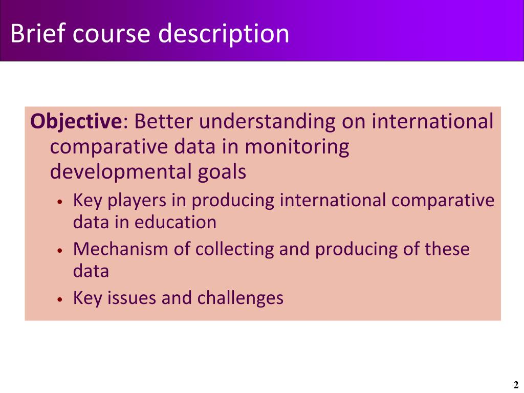 Brief course description