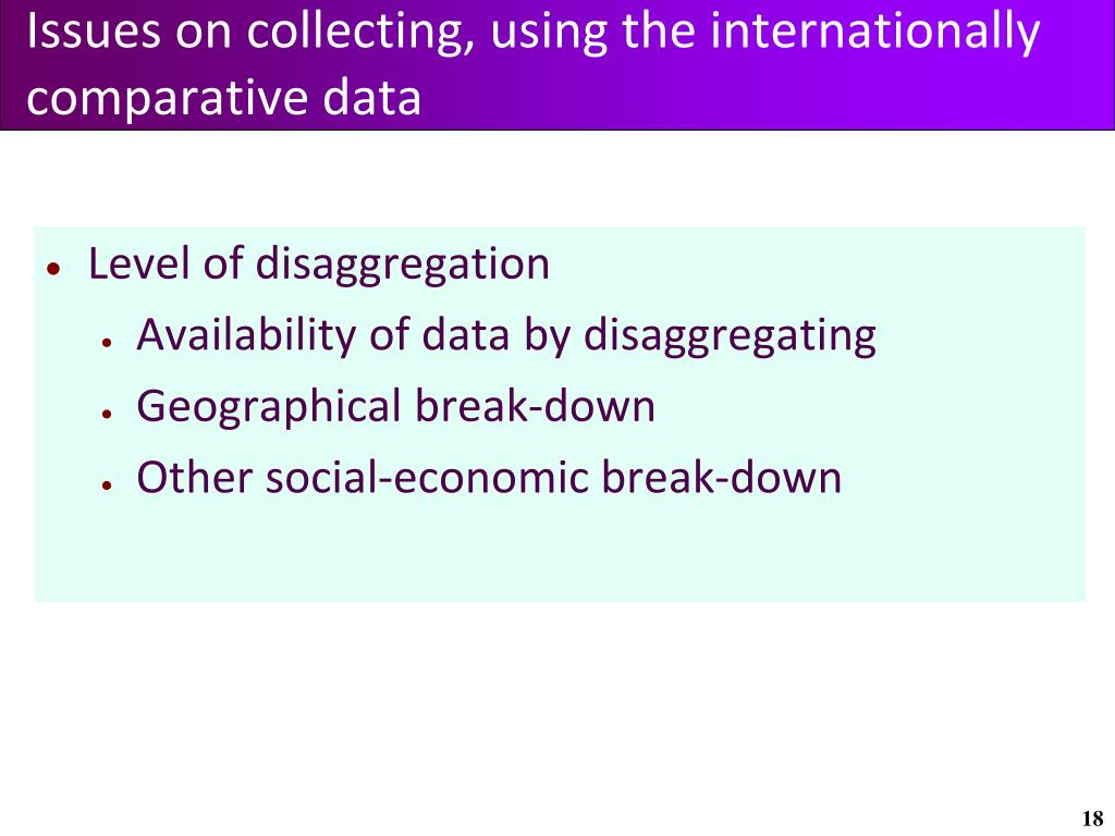Issues on collecting, using the internationally comparative data