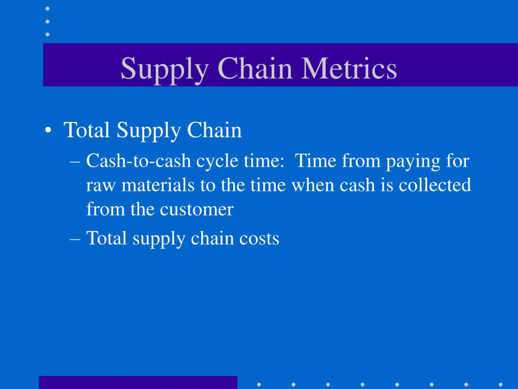 supply chain metrics There are over 250 scor® metrics that are organized in a hierarchical (and codified) structure from organization level 1 to process level 2 to diagnostic level 3 the entire scheme is available in the form of a quick reference guide.