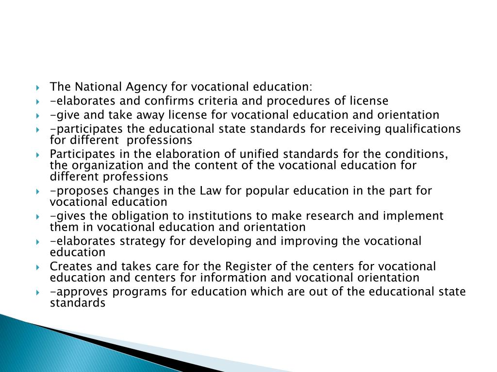 The National Agency for vocational education: