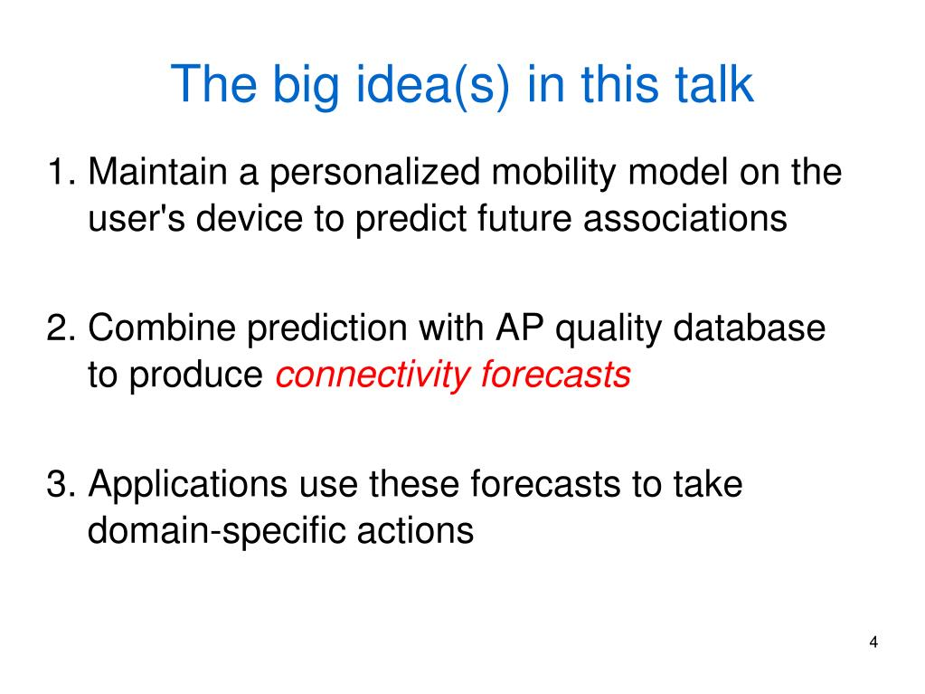 The big idea(s) in this talk