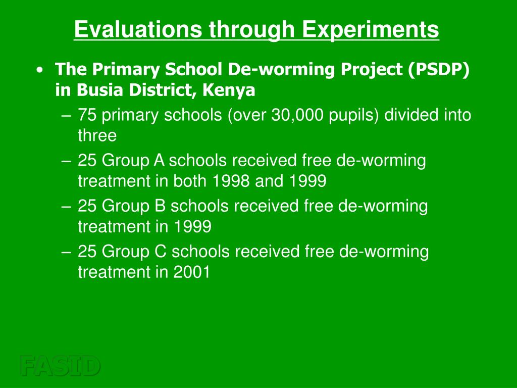 Evaluations through Experiments