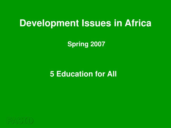 Development Issues in Africa