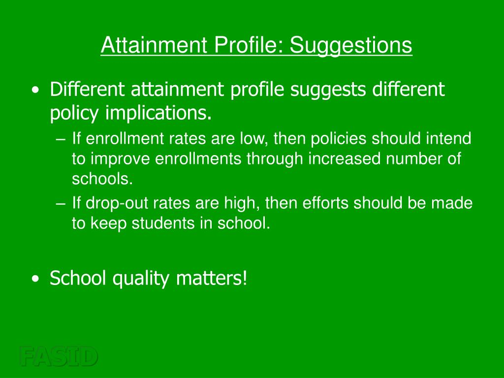 Attainment Profile: Suggestions
