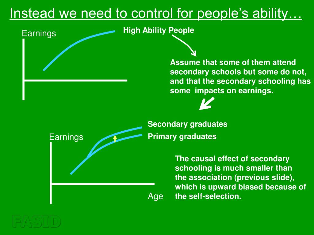 Instead we need to control for people's ability…