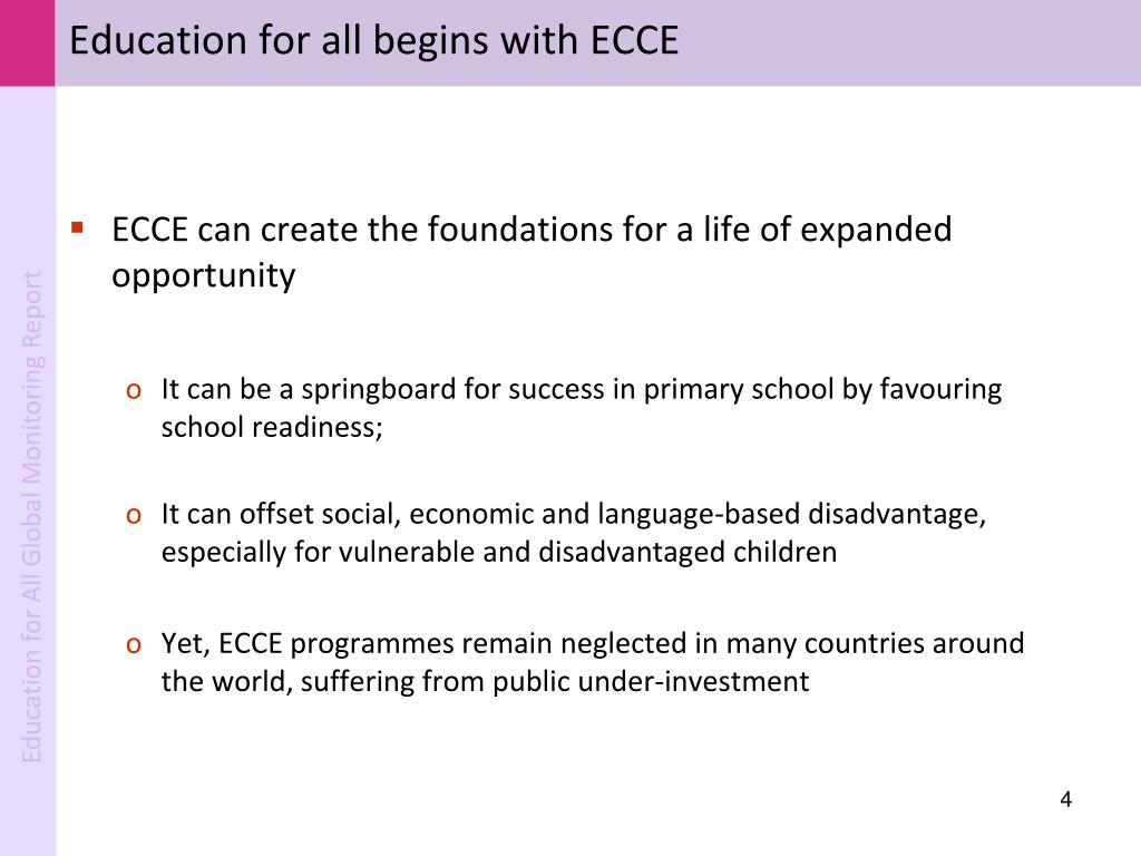Education for all begins with ECCE