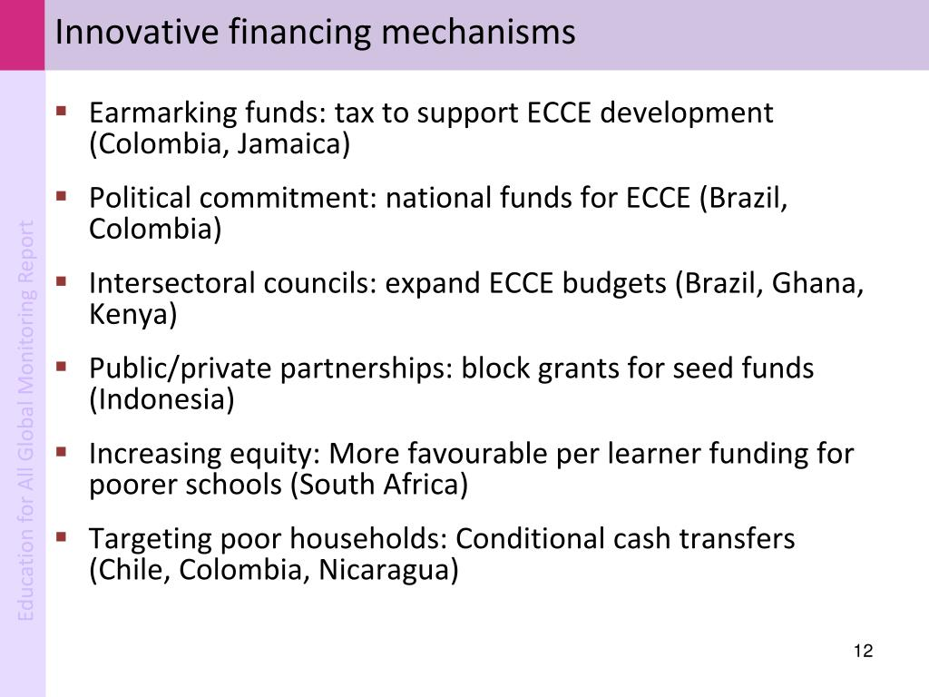 Innovative financing mechanisms