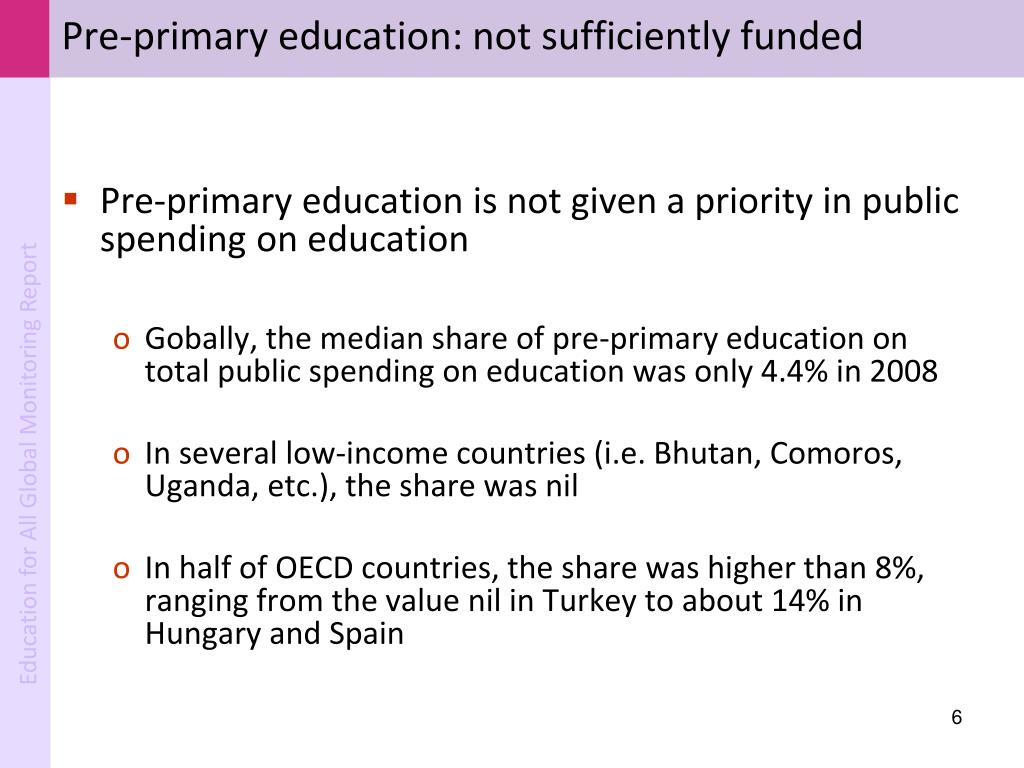 Pre-primary education: not sufficiently funded