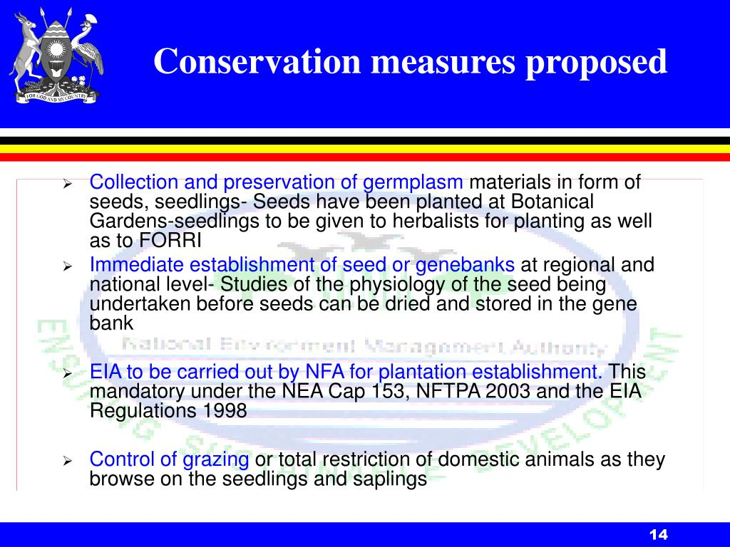 Conservation measures proposed