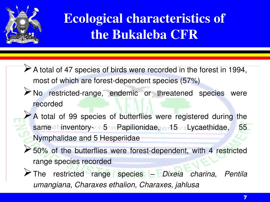Ecological characteristics of the Bukaleba CFR
