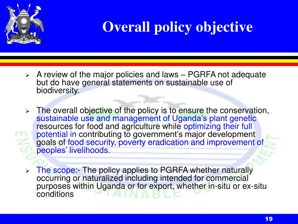 Overall policy objective