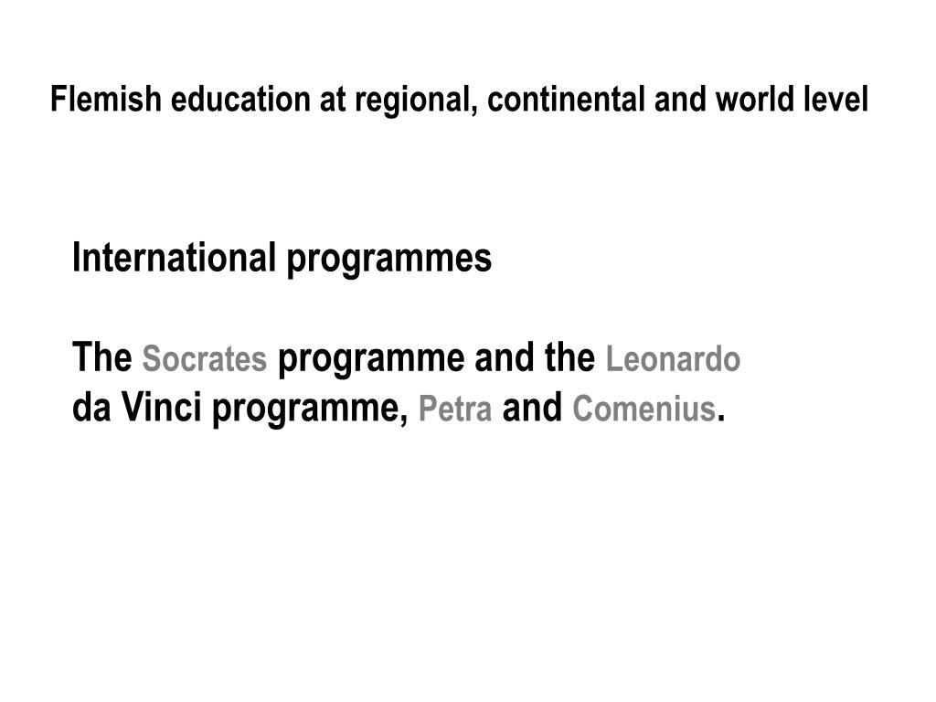 Flemish education at regional, continental and world level