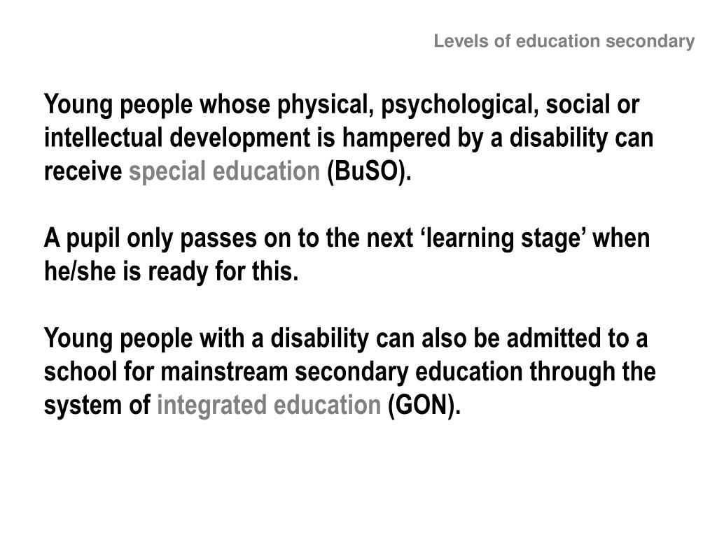 Levels of education secondary