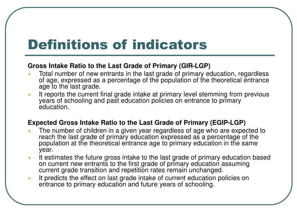 Definitions of indicators