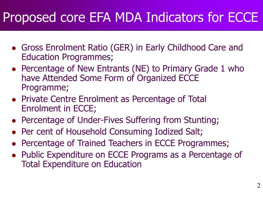 Proposed core EFA MDA Indicators for ECCE