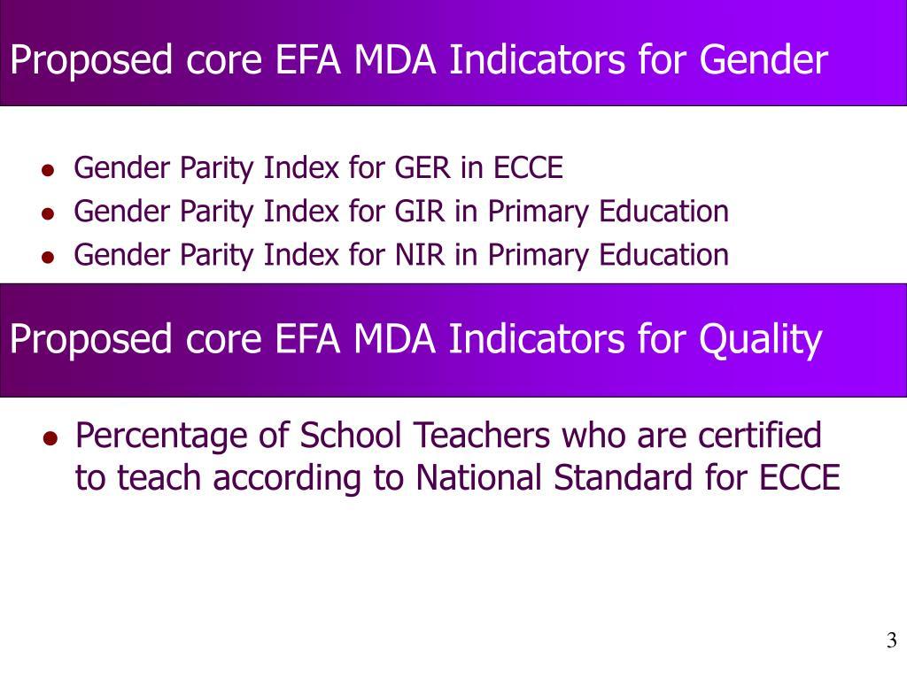 Proposed core EFA MDA Indicators for Gender