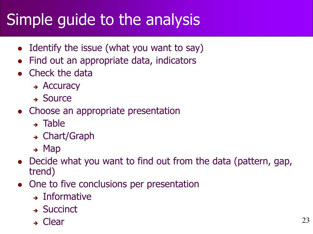 Simple guide to the analysis