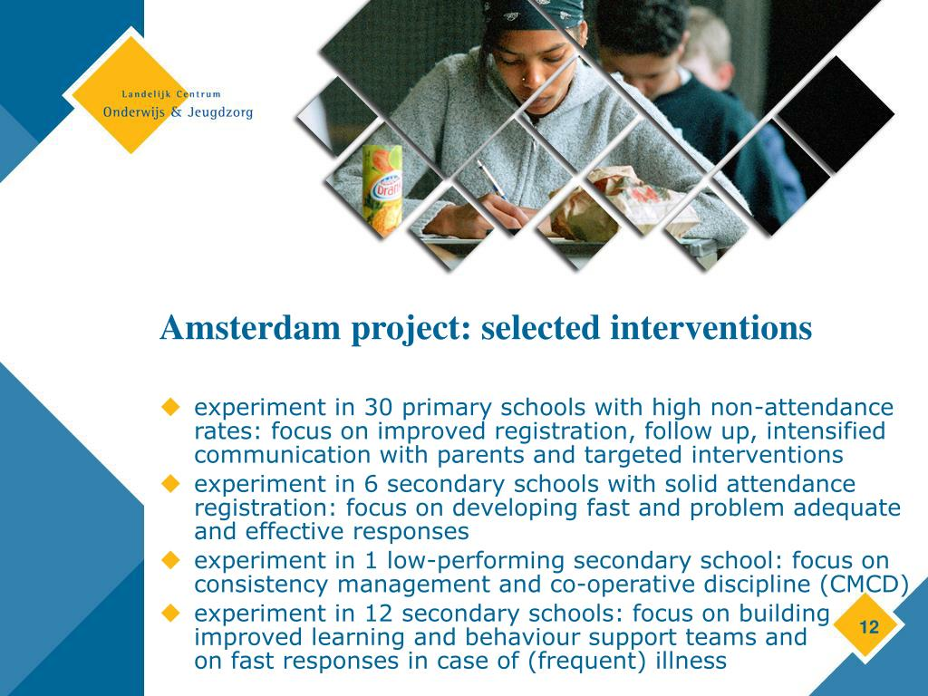 Amsterdam project: selected interventions