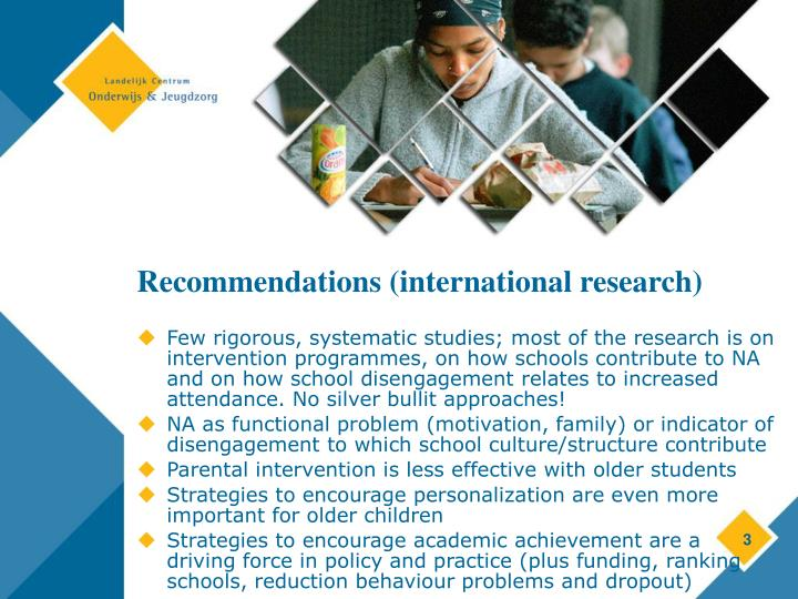 Recommendations international research