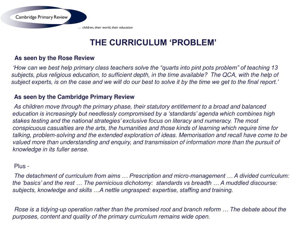THE CURRICULUM 'PROBLEM'