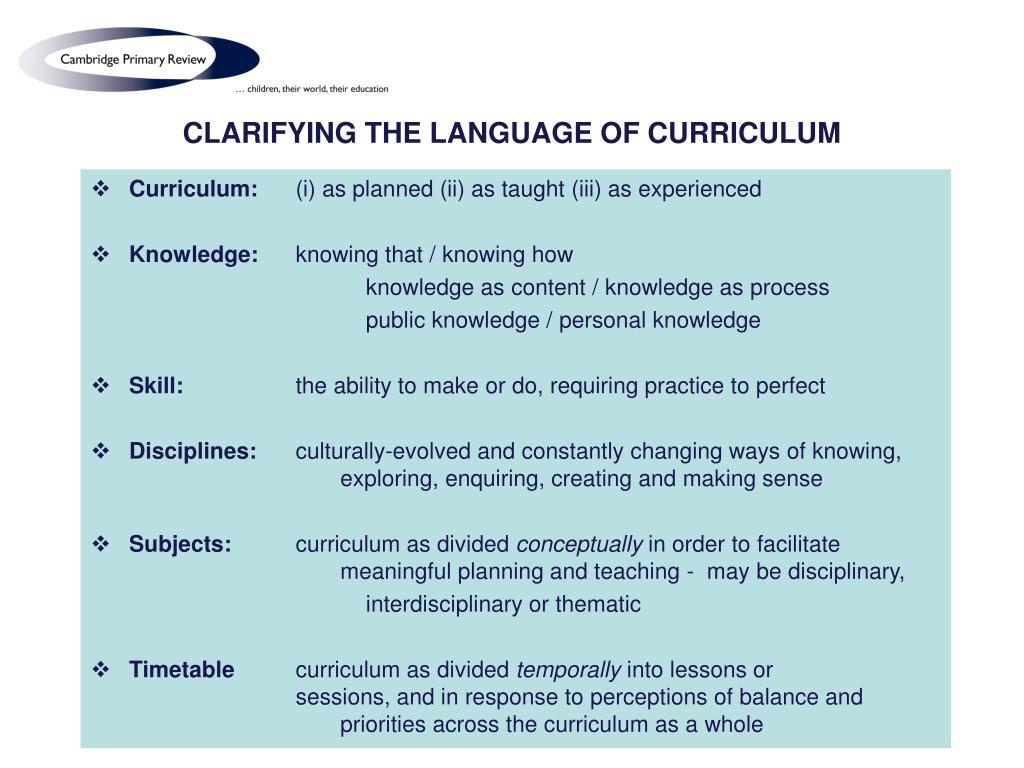 CLARIFYING THE LANGUAGE OF CURRICULUM