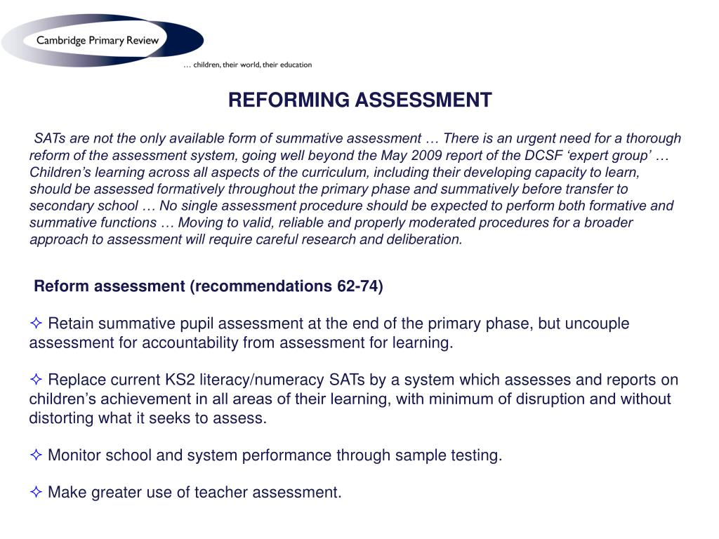 REFORMING ASSESSMENT