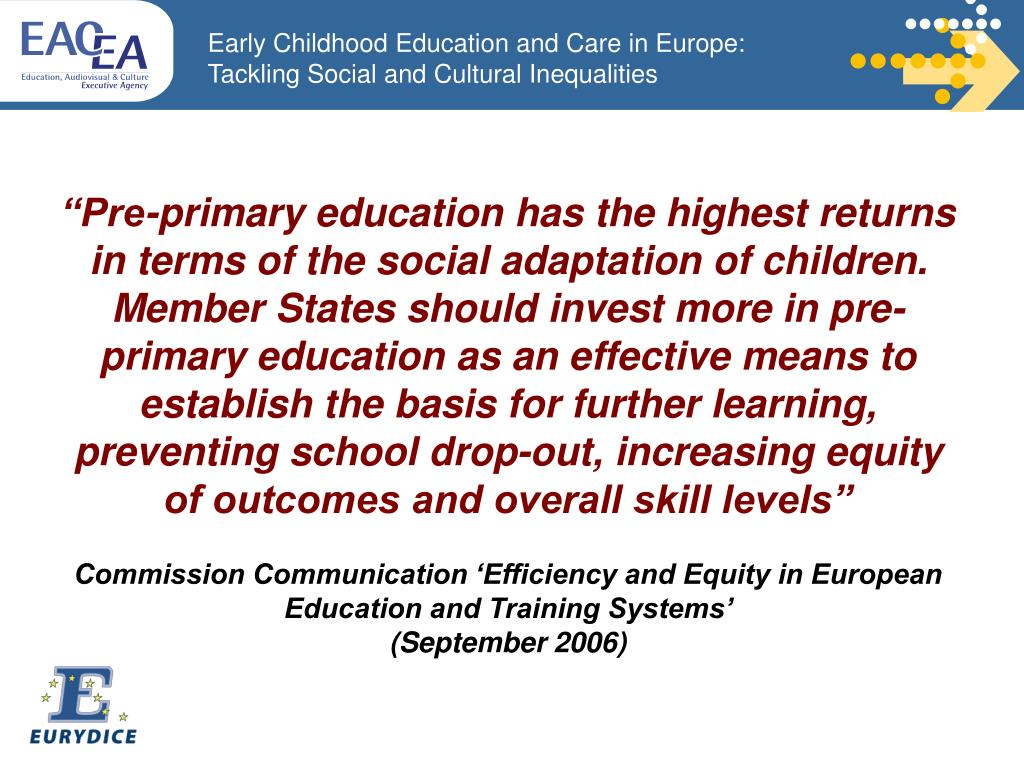 """Pre-primary education has the highest returns in terms of the social adaptation of children."