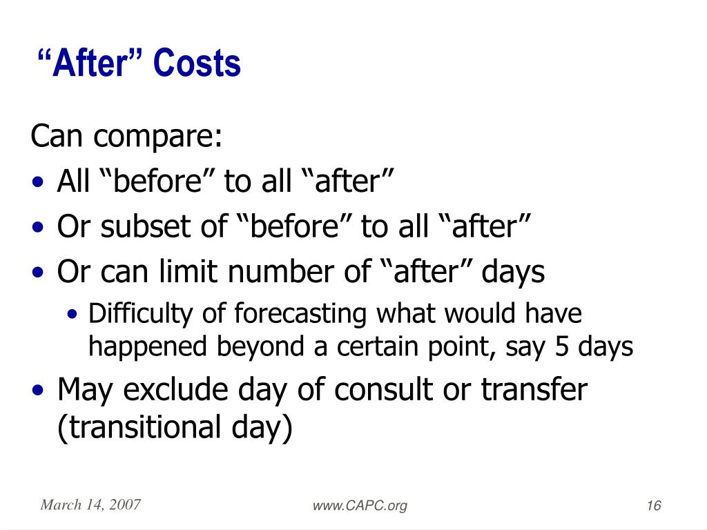 """After"" Costs"