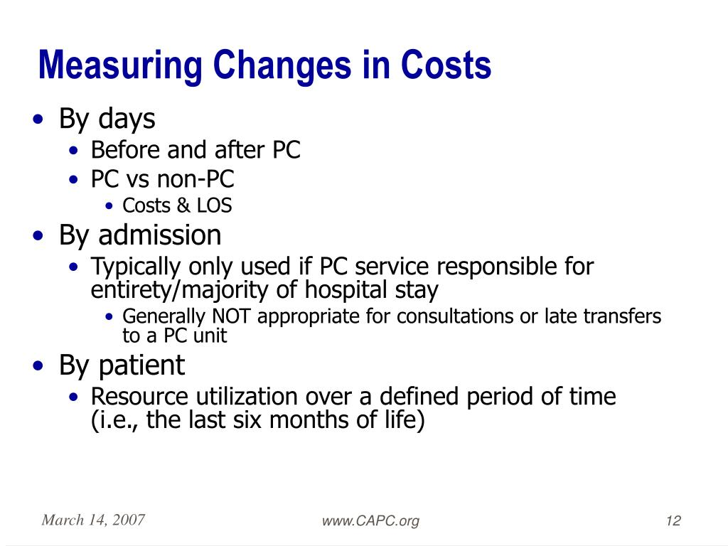 Measuring Changes in Costs