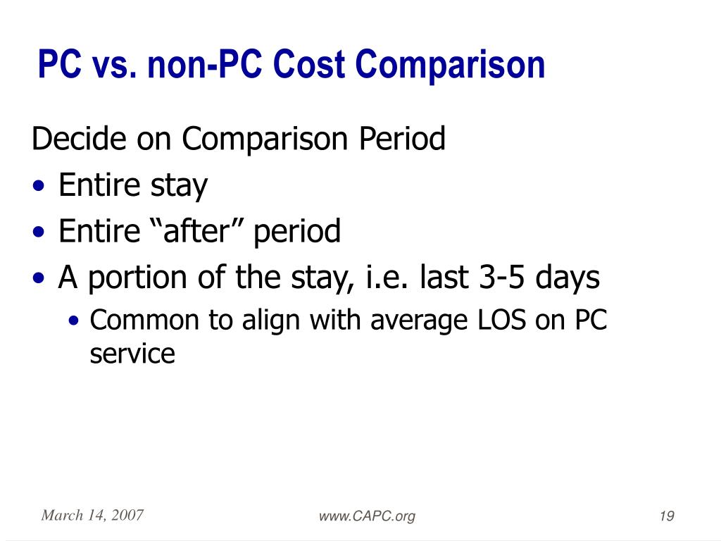 PC vs. non-PC Cost Comparison