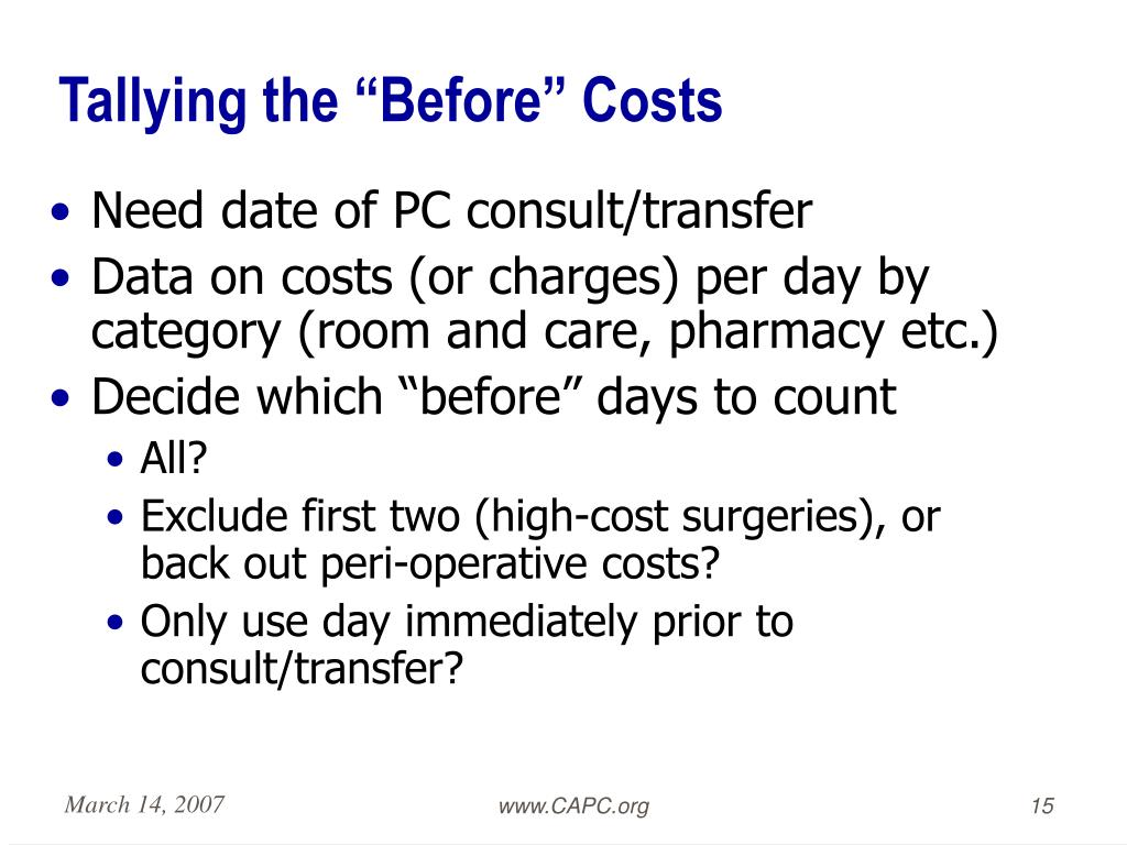 "Tallying the ""Before"" Costs"