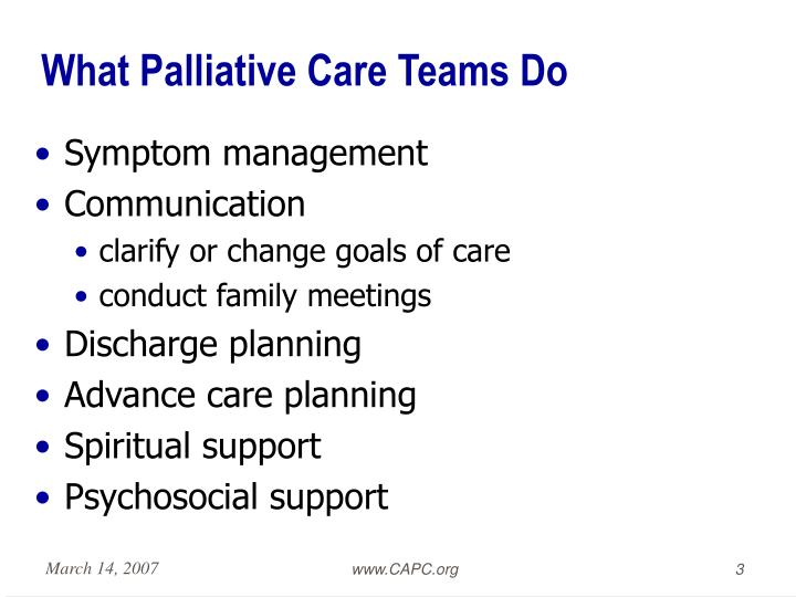 What palliative care teams do