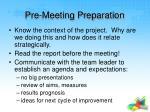 pre meeting preparation