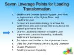seven leverage points for leading transformation