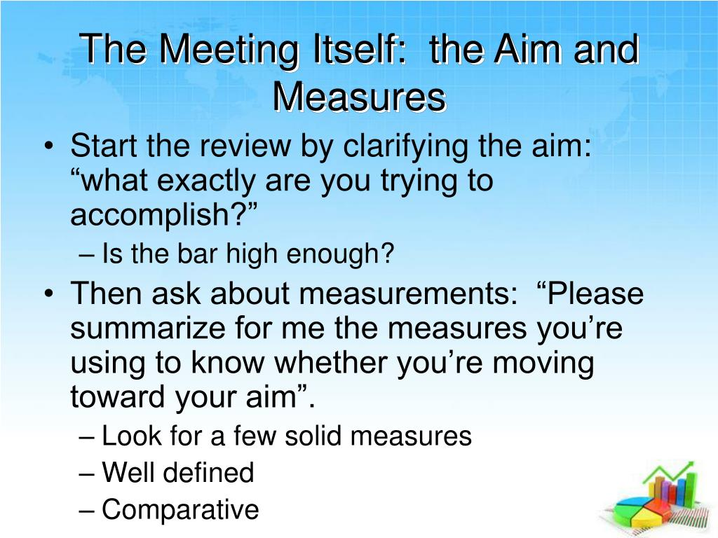 The Meeting Itself:  the Aim and Measures