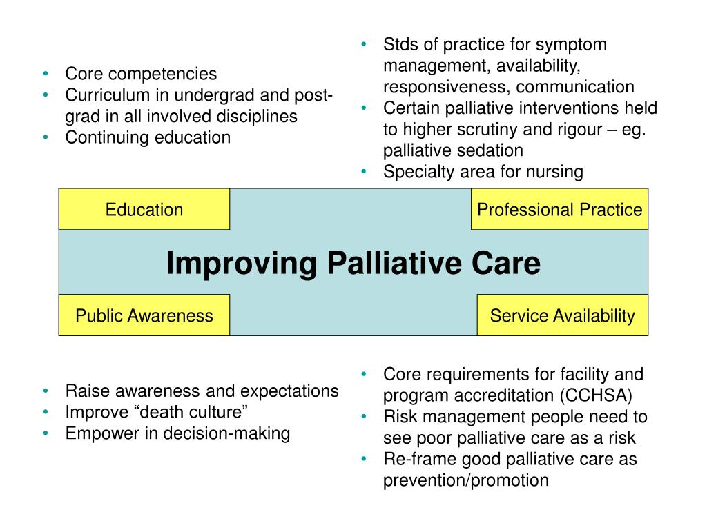 Stds of practice for symptom management, availability, responsiveness, communication