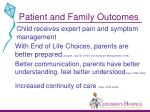 patient and family outcomes