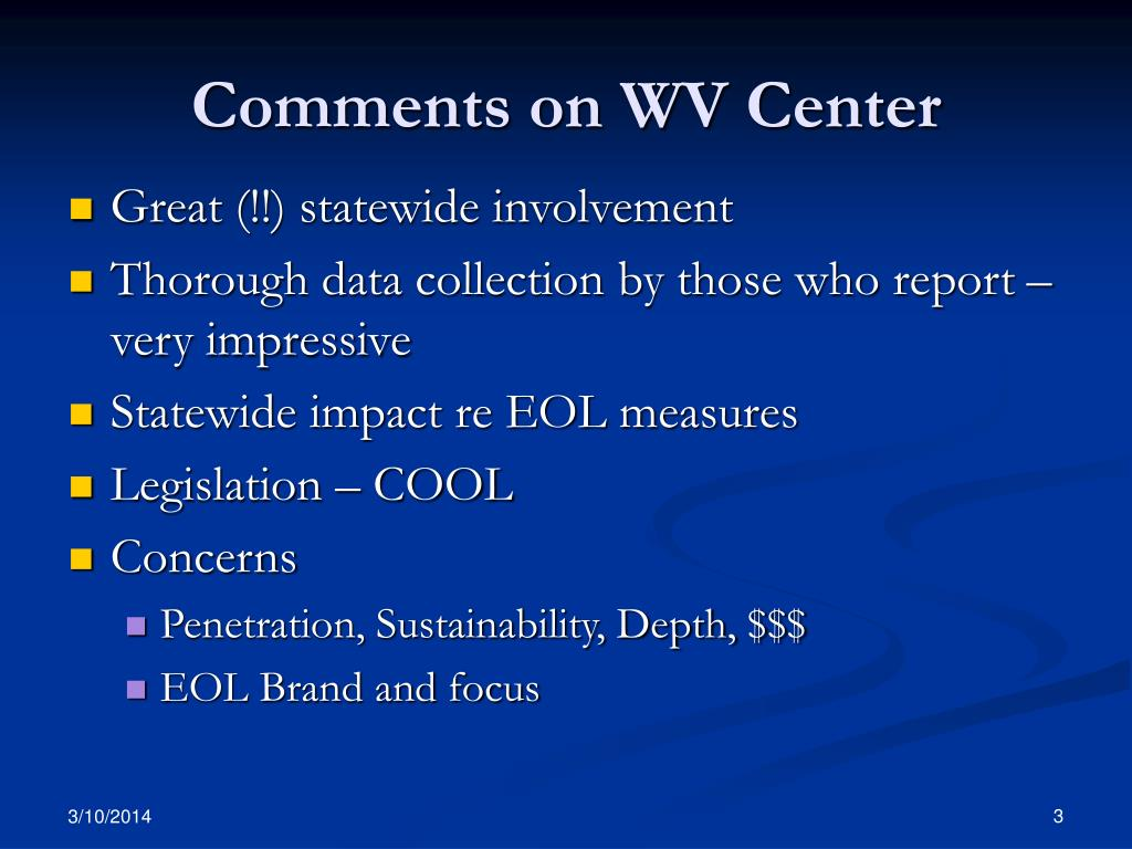Comments on WV Center