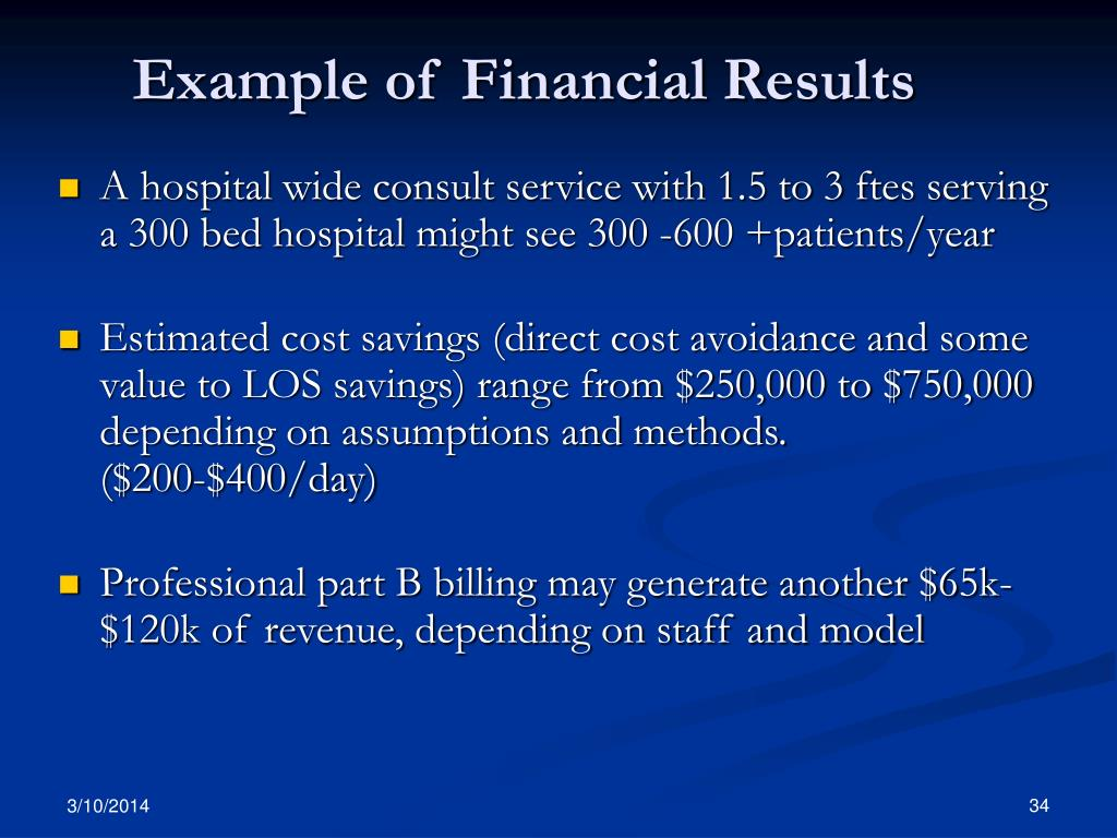 Example of Financial Results