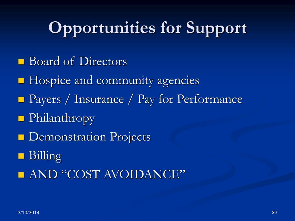 Opportunities for Support