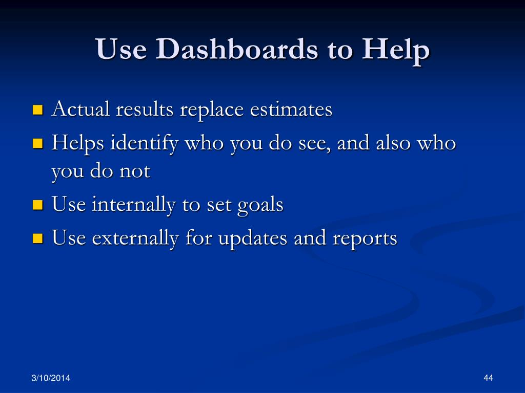 Use Dashboards to Help